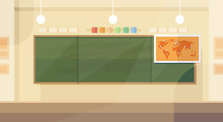School Classroom Interior Board Map Flat Design Vector Illustration  イラスト・ベクター素材