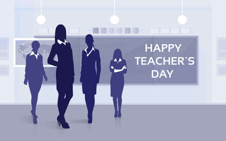 stuff: Teacher Day Holiday Silhouette Woman Stuff Class Board Greeting Card Flat Vector Illustration