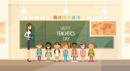 preschool classroom: Teacher Day Holiday Class School Children Group Flat Vector Illustration