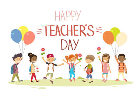 student teacher: Teacher Day School Children Group Hold Flowers Balloons Holiday Greeting Card Flat Vector Illustration
