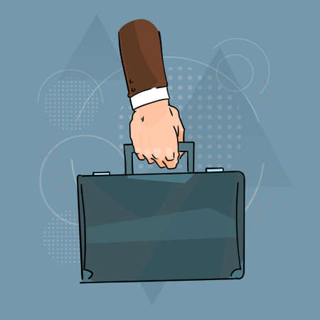 brief: Business Man Hand Hold Brief Case Over Triangle Geometric Background Flat Vector Illustration Illustration