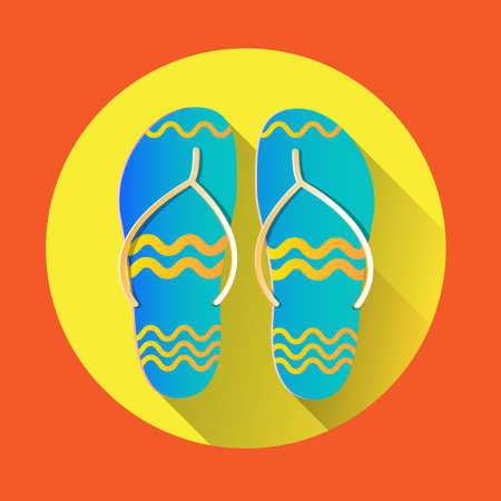 foot wear: Flip Flops Icon Summer Slippers Foot Wear Flat Vector Illustration