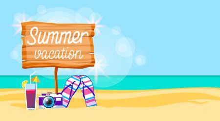Sommer Strand Urlaub bunte Poster Flip Flops Kamera Cocktail Sand tropischen Banner Textfreiraum flache Vektor-Illustration