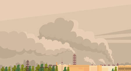 toxic emissions: Nature Pollution Plant Pipe Air Dirty Smoke Waste Vector Illustration