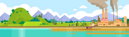Nature Pollution Plant Pipe Air Dirty Smoke Waste Water Green Environment Banner Flat Vector Illustration