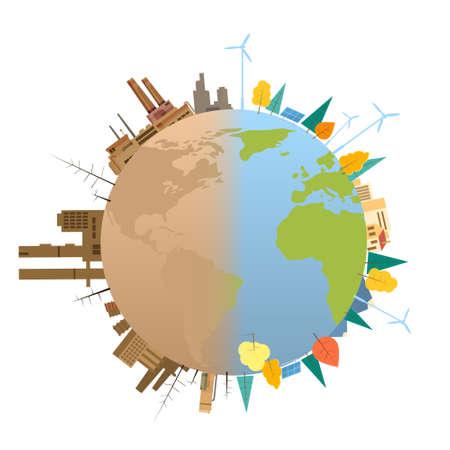 mundo contaminado: Ilustración limpia y sucia contaminada Tierra del globo del planeta Concepto plana vectorial