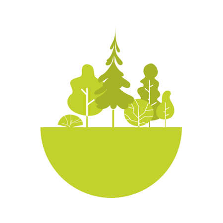 Silhouette Green Forest Illustration