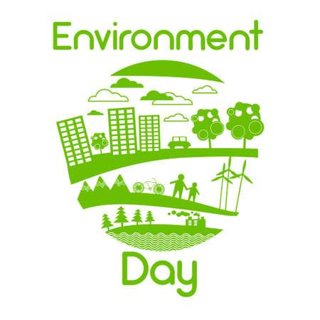 green environment: Green City Silhouette Wind Turbine Solar Energy Panel World Environment Day Flat Vector Illustration Illustration