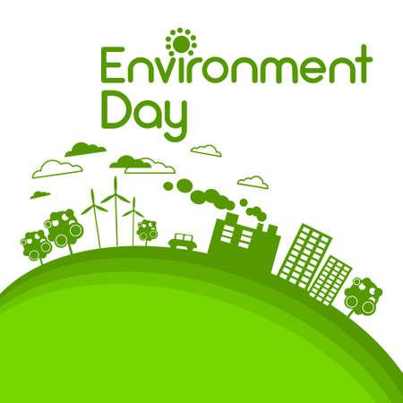 power station: Green City Silhouette Wind Turbine Solar Energy Panel World Environment Day Flat Vector Illustration Illustration