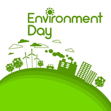 Green City Silhouette Wind Turbine Zonne-energie Panel World Environment Day Flat Vector Illustration Stock Illustratie