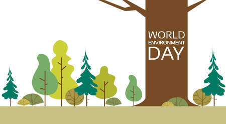 World Environment Day Forest Nature Landscape Tree Flat Vector Illustration