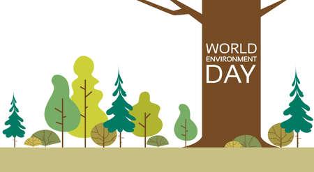Giornata mondiale dell'ambiente Forest Nature Landscape Tree Illustrazione vettoriale piatta