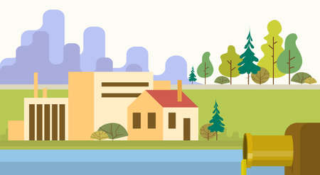 Nature Pollution Plant Pipe Dirty Waste Water Green Environment Flat Vector Illustration Illustration
