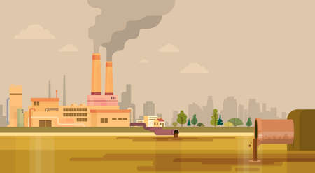 toxic emissions: Nature Pollution Plant Pipe Dirty Waste Water Polluted Environment Flat Vector Illustration Illustration