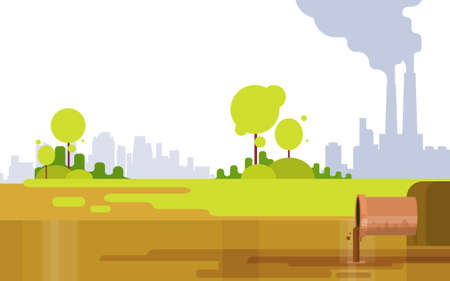 toxic emissions: Nature Pollution Plant Pipe Air Dirty Smoke Waste Water Green Environment Flat Vector Illustration Illustration