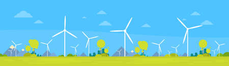 Wind Station Alternative Energy Generation Resource Nature Background Banner Flat Vector Illustration