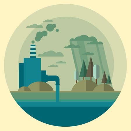 Illustrazione Natura Inquinamento Flora tubo sporca dei rifiuti acqua inquinata Ambiente piatto Vector