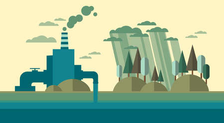 Nature Pollution Plant Pipe Dirty Waste Water Polluted Environment Flat Vector Illustration Illustration