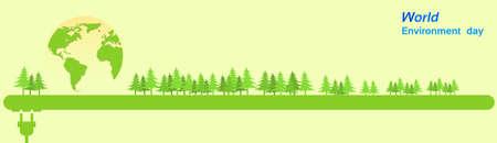 green environment: World Environment Day Green Silhouette Forest Banner Flat Vector Illustration Illustration