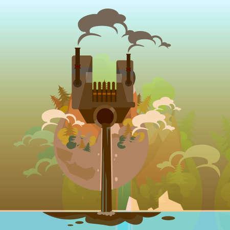 mundo contaminado: Globo de tierra con la ilustraci�n de la planta de residuos sucio Naturaleza Medio Ambiente Contaminaci�n plana vectorial Vectores