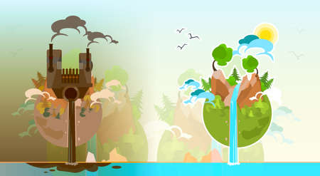 Clean And Polluted Earth Planet Globe Water Waste Flat Vector Illustration