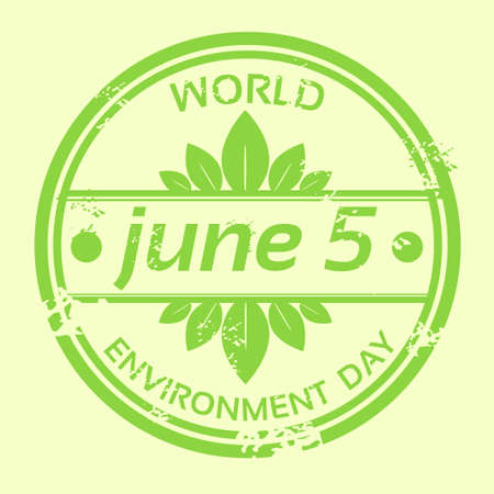 World Environment Day Stamp Icon Flat Vector Illustration