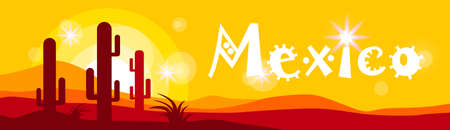 hot stones: Mexican Sunset Cactus In Desert Mexico Banner Flat Vector Illustration