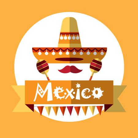 maraca: Mexican Traditional Clothes Sombrero Maraca, Mexico National Holiday Flat Vector Illustration