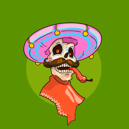 macabre: Skeleton Wear Mexican Sombrero Mexico Traditional National Holiday Flat Vector Illustration
