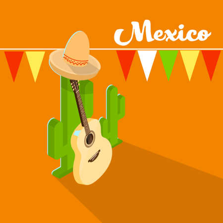 mexico cactus: Mexican Traditional Hat Sombrero Guitar Mexico Cactus Isometric Vector Illustration Illustration
