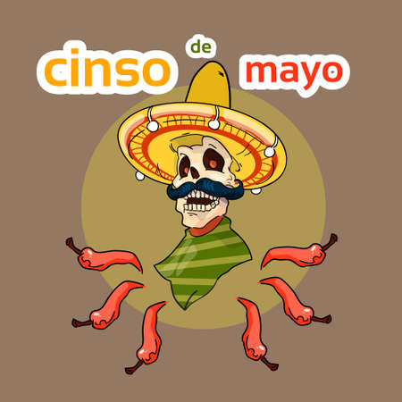 national holiday: Skeleton Wear Mexican Sombrero Mexico Traditional National Holiday Flat Vector Illustration