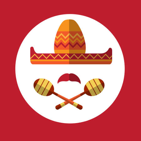 maraca: Sombrero Mustache Mexican Traditional Hat Maraca Icon Flat Vector Illustration