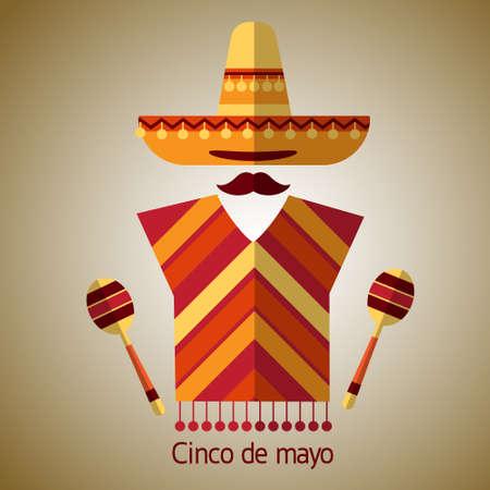 maraca: Mexican Traditional Clothes Sombrero Hat Maraca, Mexico Cinco De Mayo Holiday Flat Vector Illustration Illustration