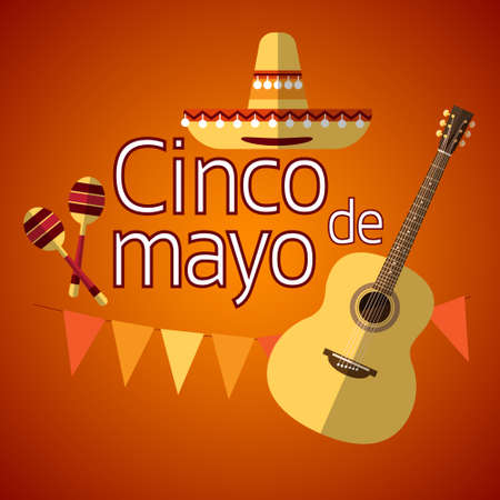 maraca: Mexican Traditional Sombrero Maraca Guitar, Mexico National Holiday Cinco De Mayo Flat Vector Illustration