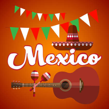 maraca: Mexican Traditional Hat Sombrero Maraca Guitar, Mexico Flat Vector Illustration