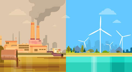 toxic emissions: Clean And Polluted Dirty City Environmental Green Energy Concept Wind Turbine Flat Vector Illustration Illustration
