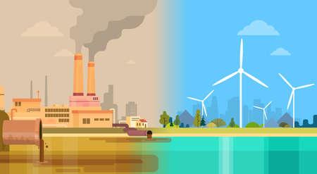 mundo contaminado: Turbina limpia y contaminada sucia Ciudad Verde del Medio Ambiente concepto de energ�a e�lica Ilustraci�n vectorial Flat Vectores