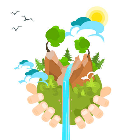 Hand Hold Globe Green Nature Environment Flat Vector Illustration