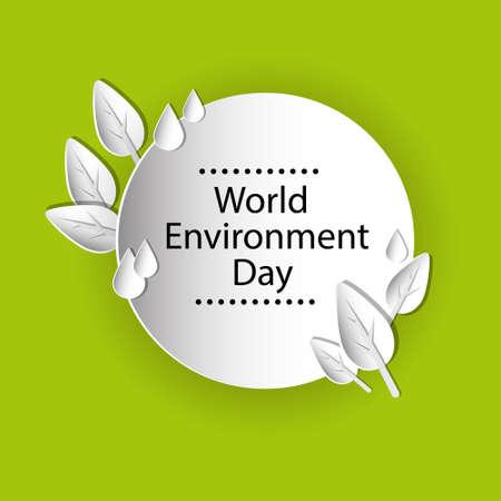 世界环境日地球地球地球地球水滴叶平面矢量插图