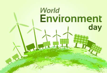 绿色风力涡轮机太阳能板世界环境日平面矢量插图