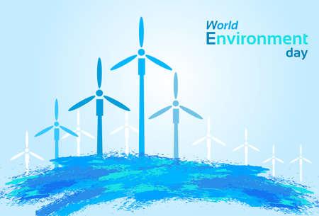 blue wind: Blue Wind Air Turbine Energy Sky World Environment Day Flat Vector Illustration Illustration