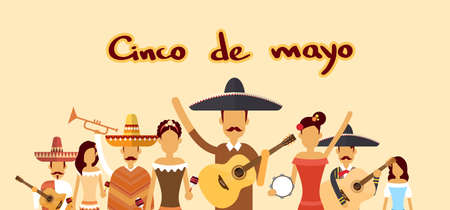 national holiday: Mexican People Group Wear Traditional Clothes Celebrate Mexico National Holiday Cinco De Mayo Flat Vector Illustration