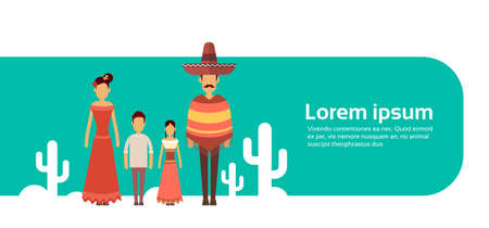 latin american girls: Mexican Family With Two Children Wear Traditional Clothes Cactus Banner With Copy Space Flat Vector Illustration