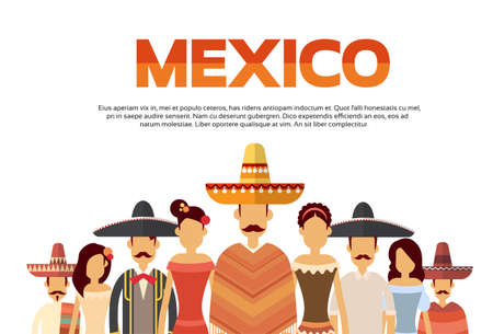 latin american girls: Mexican People Group Wear Traditional Clothes Mexico Banner With Copy Space Flat Vector Illustration Illustration