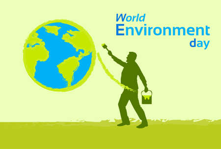 green environment: Silhouette Man Painting Earth Globe Green World Environment Day Flat Vector Illustration Illustration