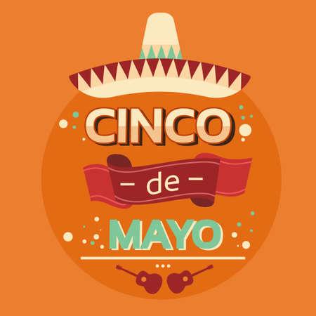national holiday: Mexican Traditional Sombrero Guitar, Mexico National Holiday Cinco De Mayo Flat Vector Illustration
