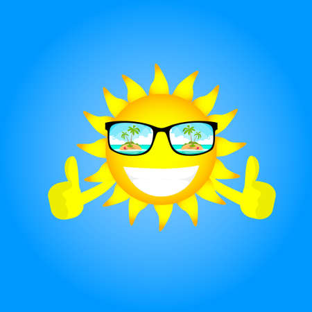 Sun Cartoon Character Wear Glasses With Tropical Island View Thumb Up Gesture Flat Vector Illustration