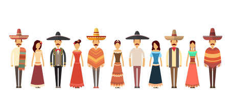 latin american girls: Mexican People Group Wear Traditional Clothes Full Length Flat Vector Illustration Illustration