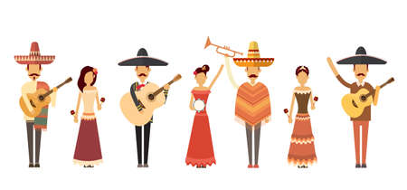 latin american girls: Mexican People Group Wear Traditional Clothes Play Music Instruments Full Length Flat Vector Illustration