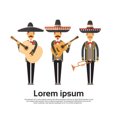 the performer: Mexican Man Group Wear Traditional Clothes Performer With Music Instrument Celebration Full Length Flat Vector Illustration